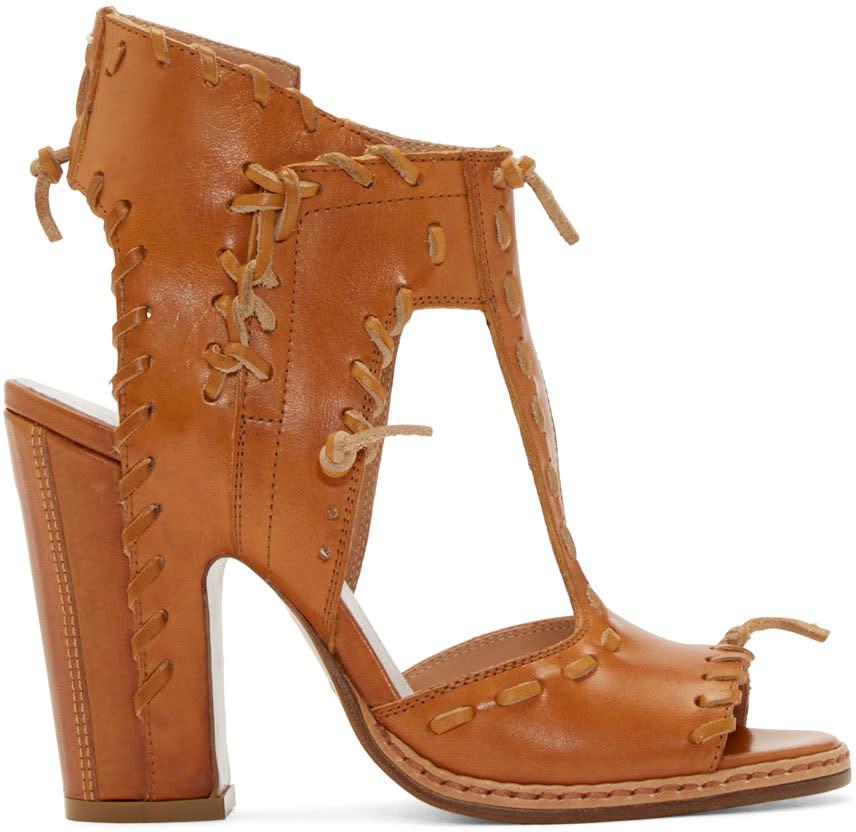 Maison Margiela Tan Leather Stitch Sandals