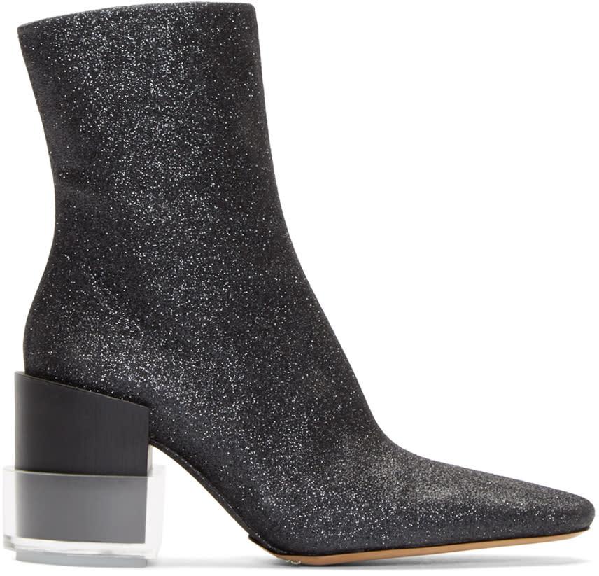 Maison Margiela Black Glitter Ankle Boots