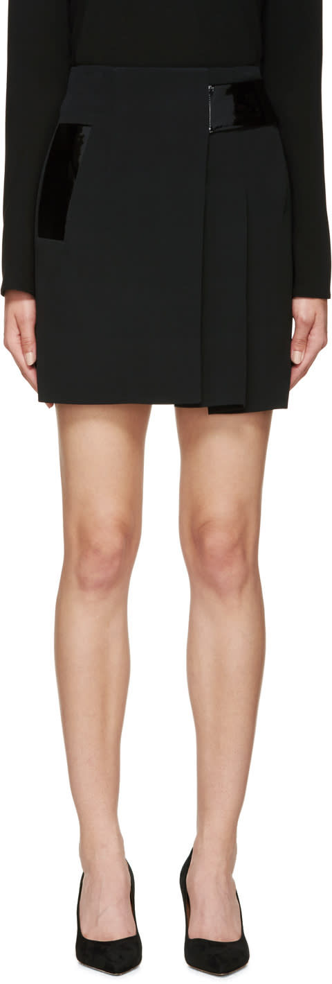 Christopher Kane Black Pleated Patent Band Skirt