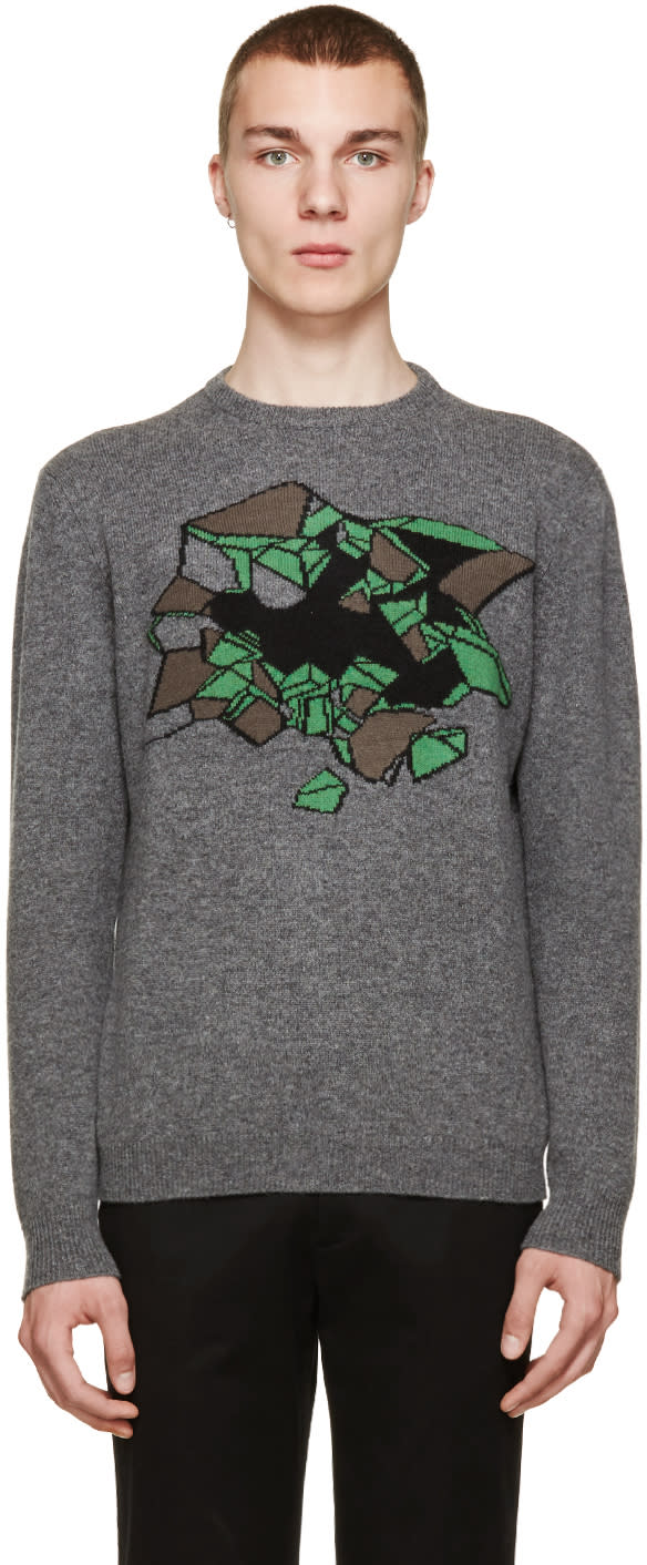 Christopher Kane Grey Melange Wallbreak Sweater