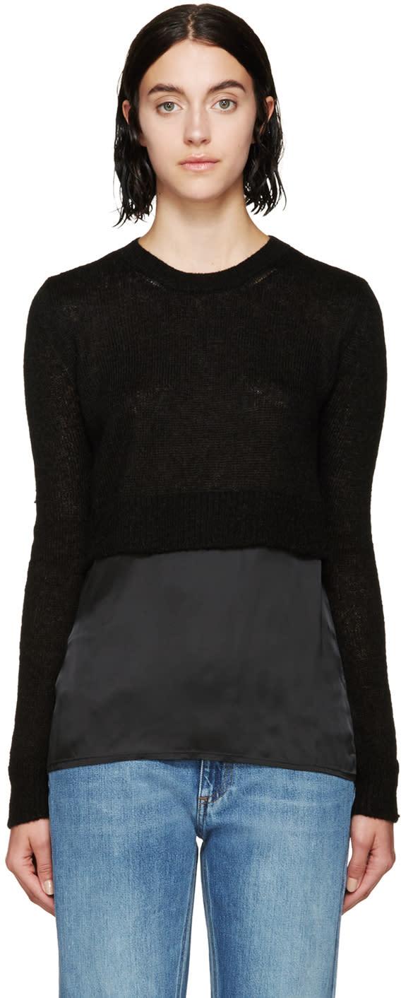 Mm6 Maison Margiela Black Contrast Panel Gauge 5 Sweater