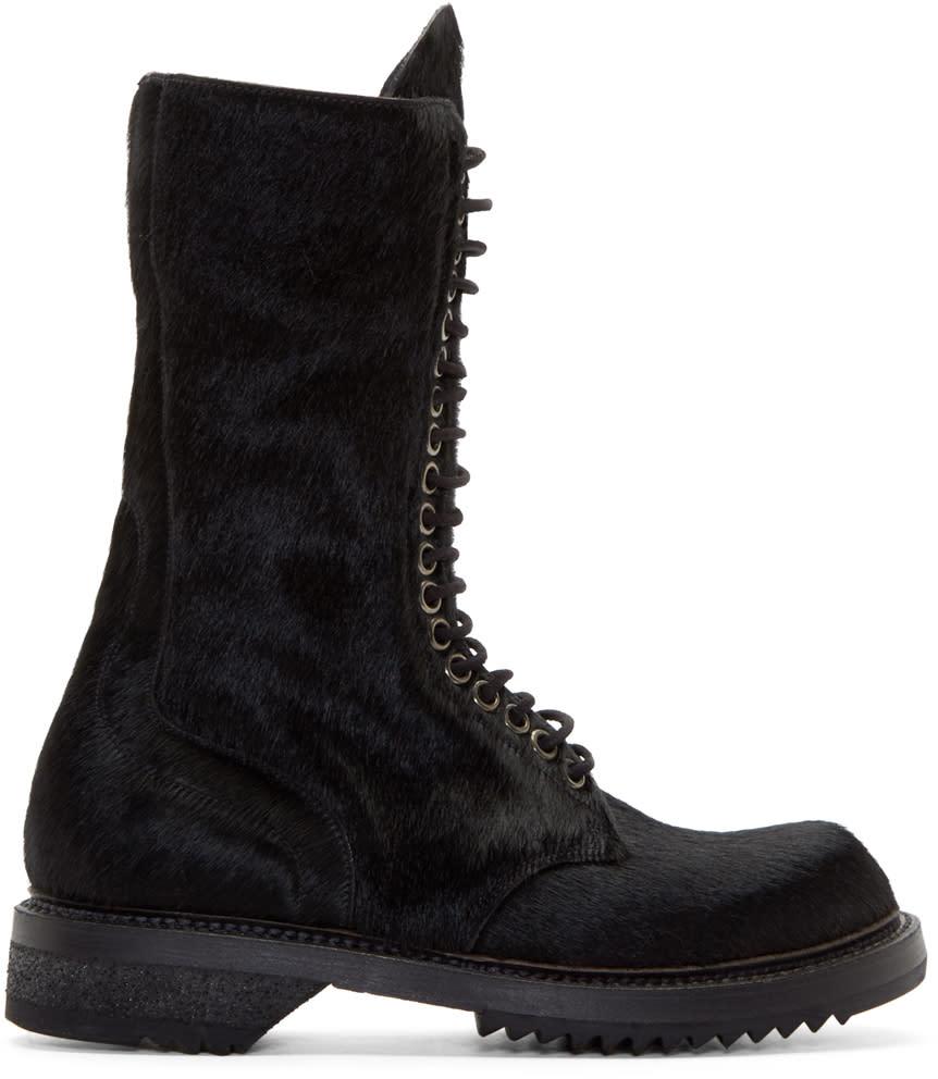 Rick Owens Black Calf-hair Army Boots