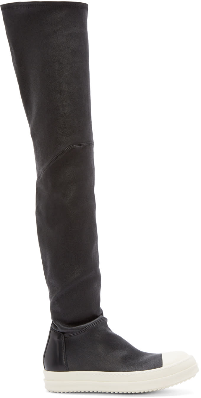 Rick Owens Black Thigh-high Sock Sneakers