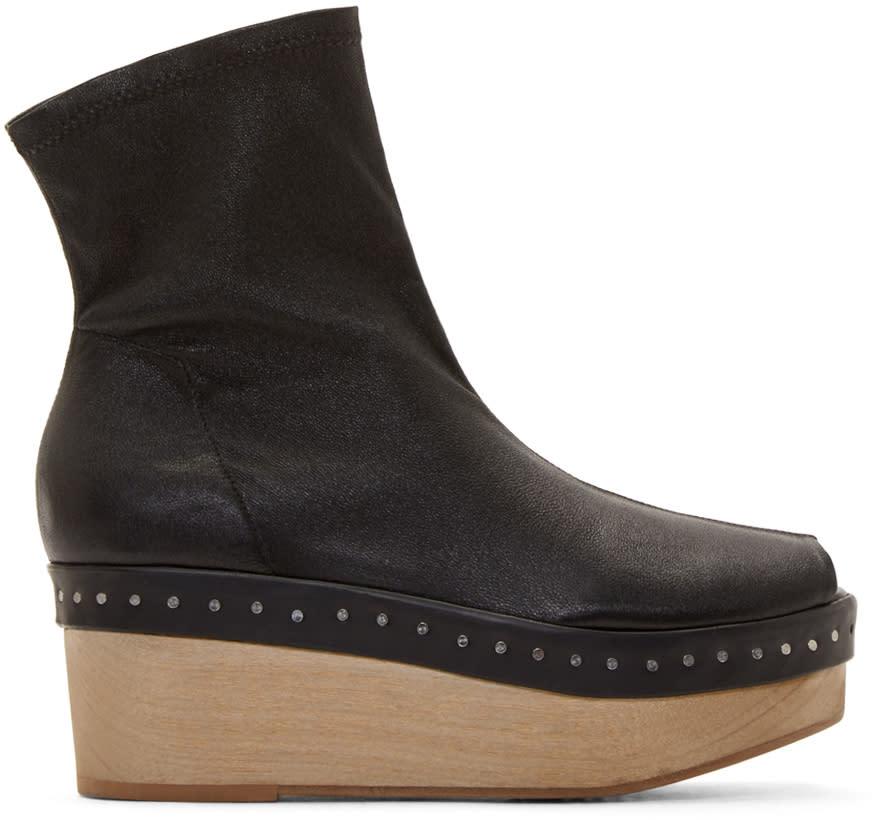 Rick Owens Black Leather Scuba Platforms