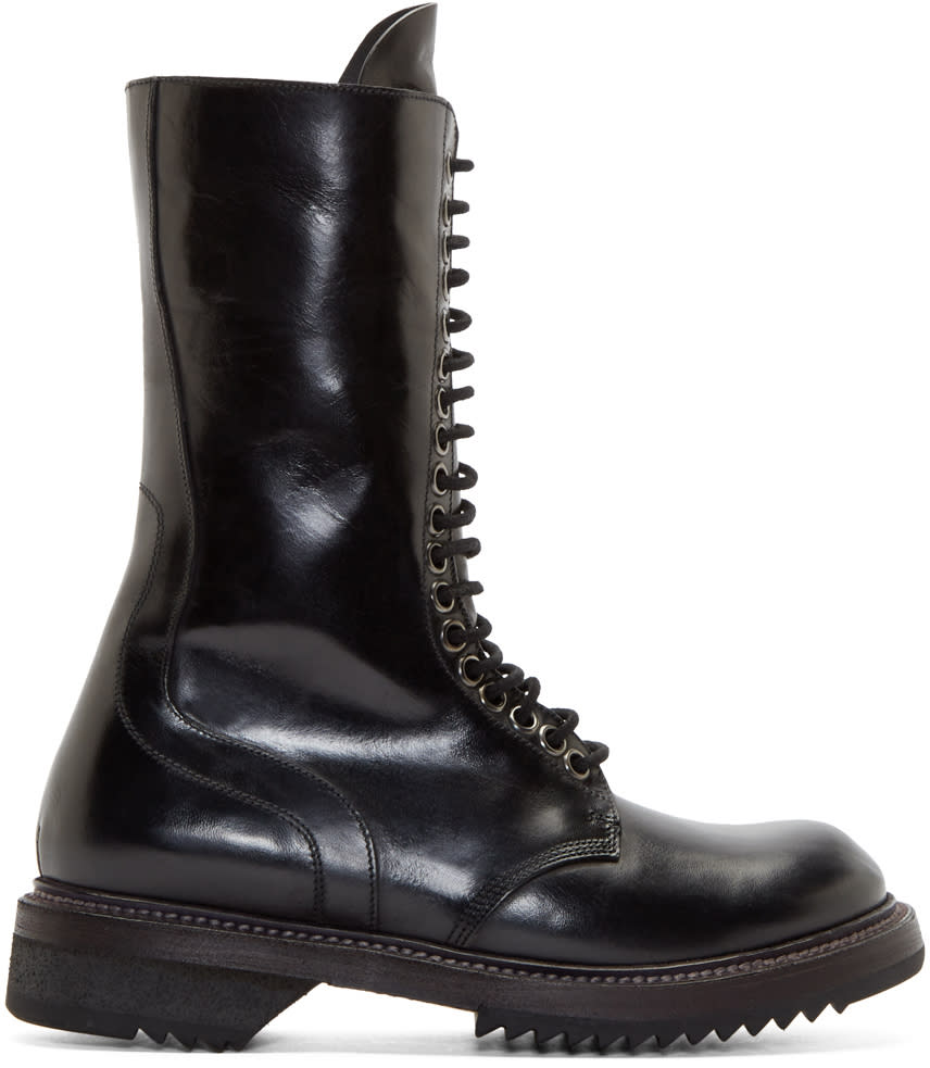 Rick Owens Black Leather Army Boots