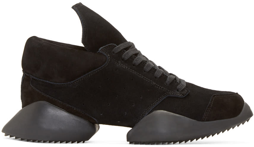 Rick Owens Black Suede Island Sole Adidas By Rick Owens Sneakers