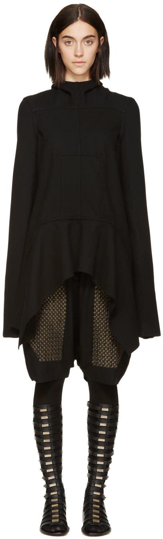 Rick Owens Black Wool Lapel Coat
