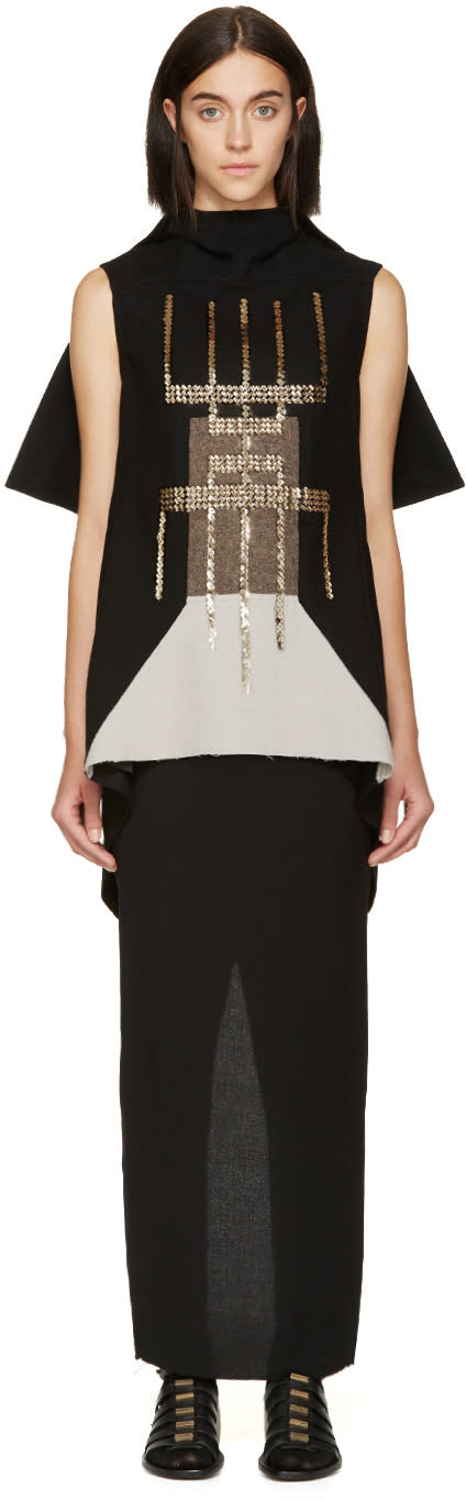 Rick Owens Black Blossom Embroidered Tunic