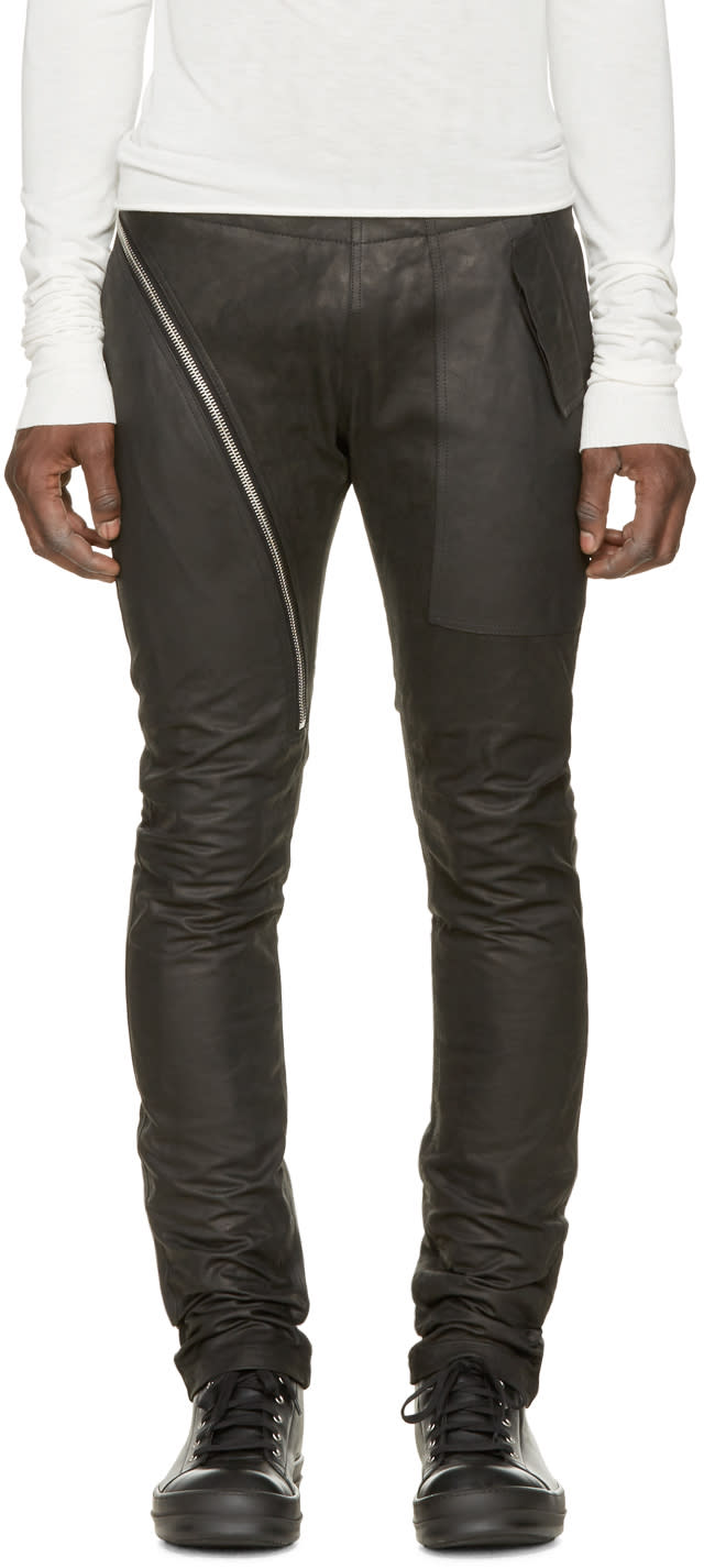 Rick Owens Black Leather Aircut Travel Trousers