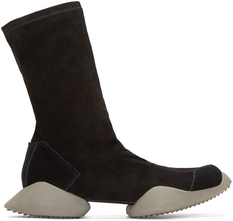 Rick Owens Black Suede Adidas By Rick Owens High-top Sneakers