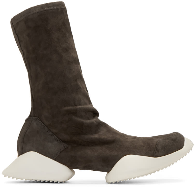 Rick Owens Grey Suede Adidas By Rick Owens High-top Sneakers
