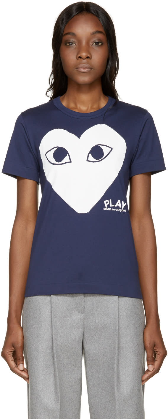Comme Des Garcons Play Navy Heart T-shirt
