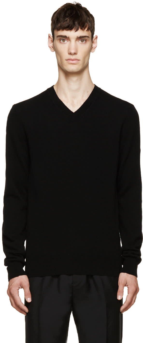 Comme Des Garcons Play Black Wool V-neck Logo Sweater