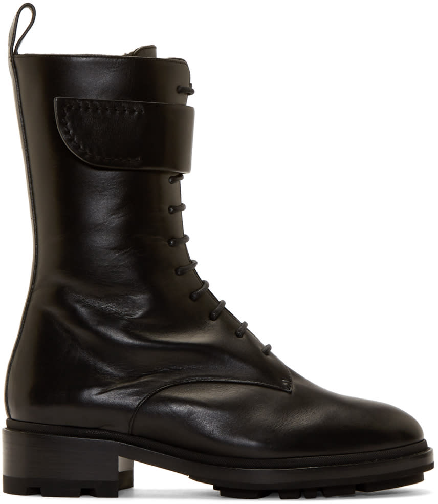 Jil Sander Black Shearling Lace-up Boots