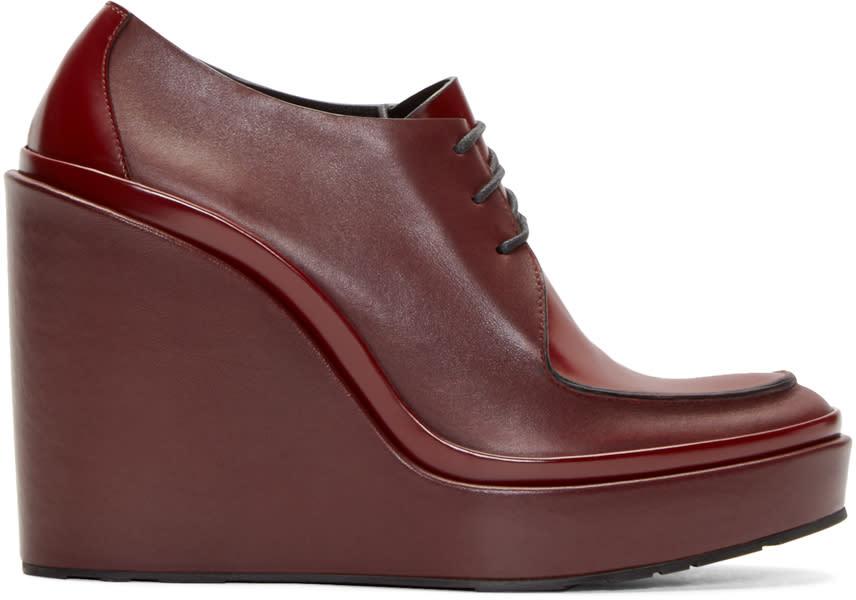 Jil Sander Burgundy Leather Wedge Boots