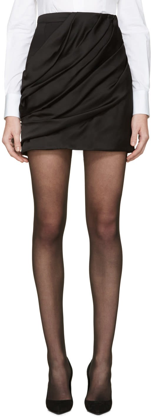 Balmain Black Draped Skirt