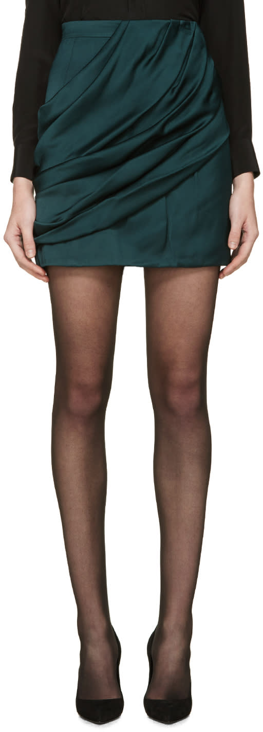 Balmain Green Draped Skirt