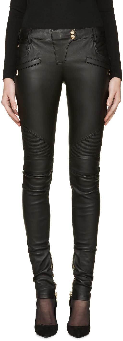 Balmain Black Leather Biker Pants