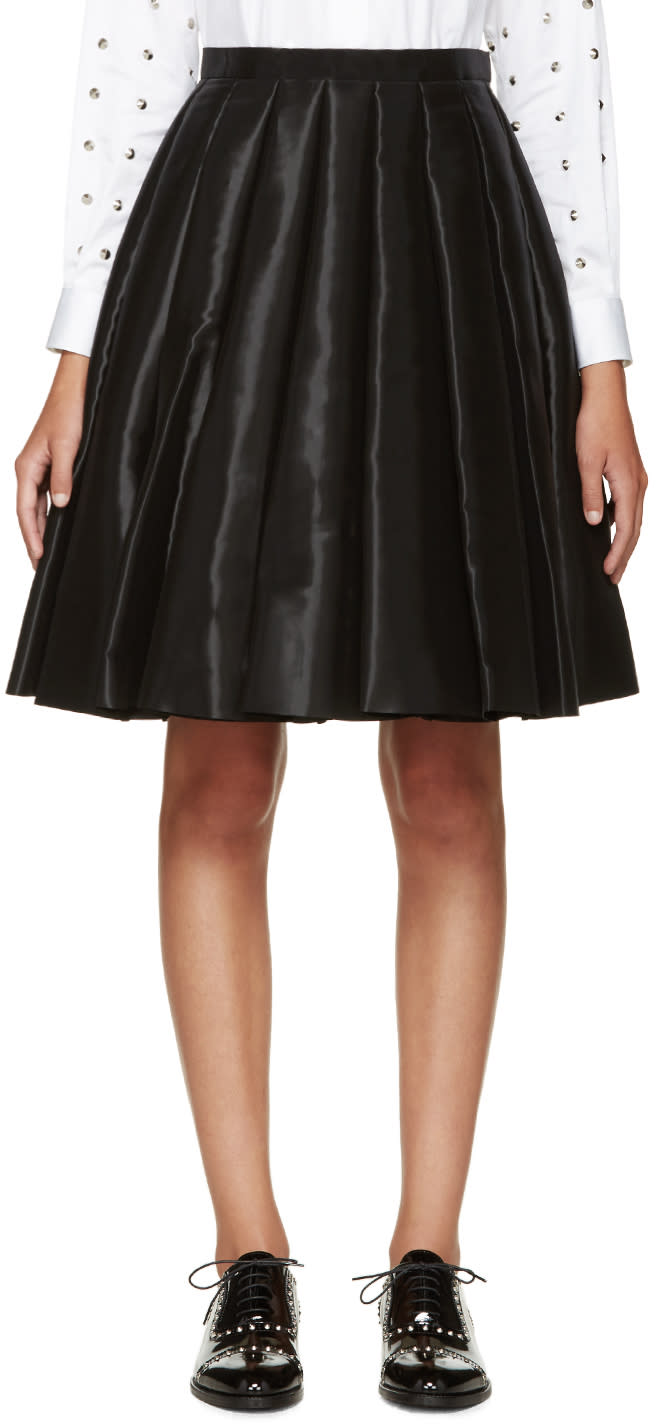 Junya Watanabe Black Satin Pleated Skirt