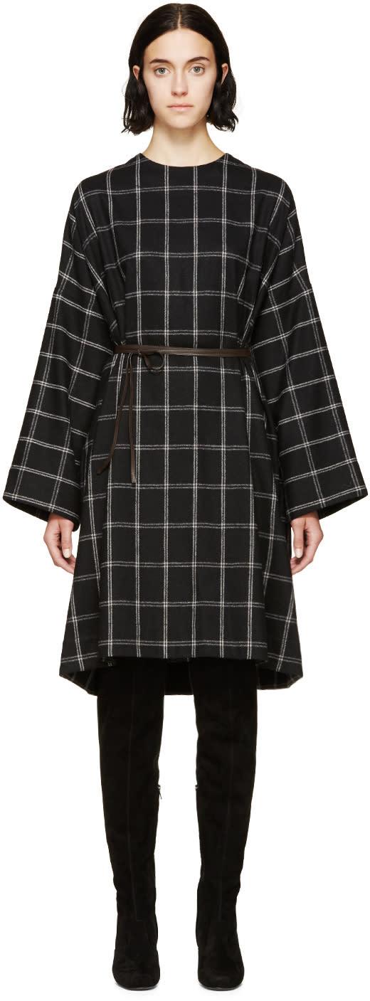 Lanvin Black Wool Check Dress