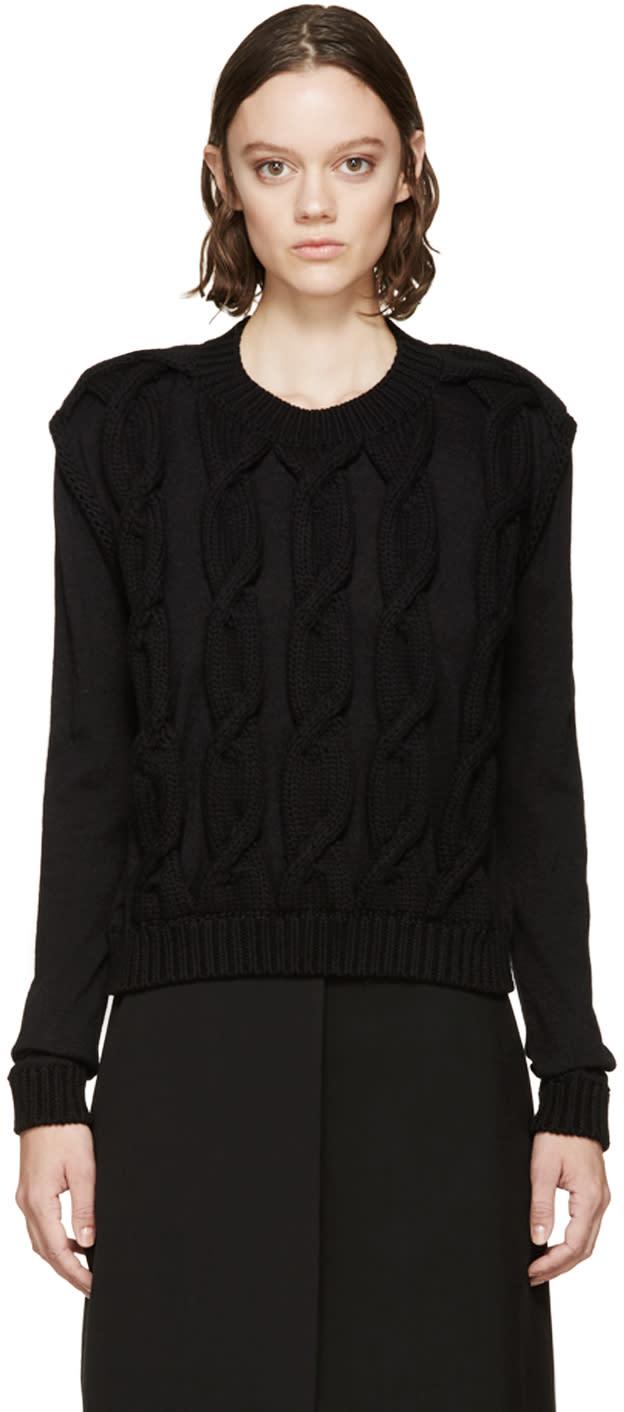Lanvin Black Knit Appliqué Sweater at SSENSE