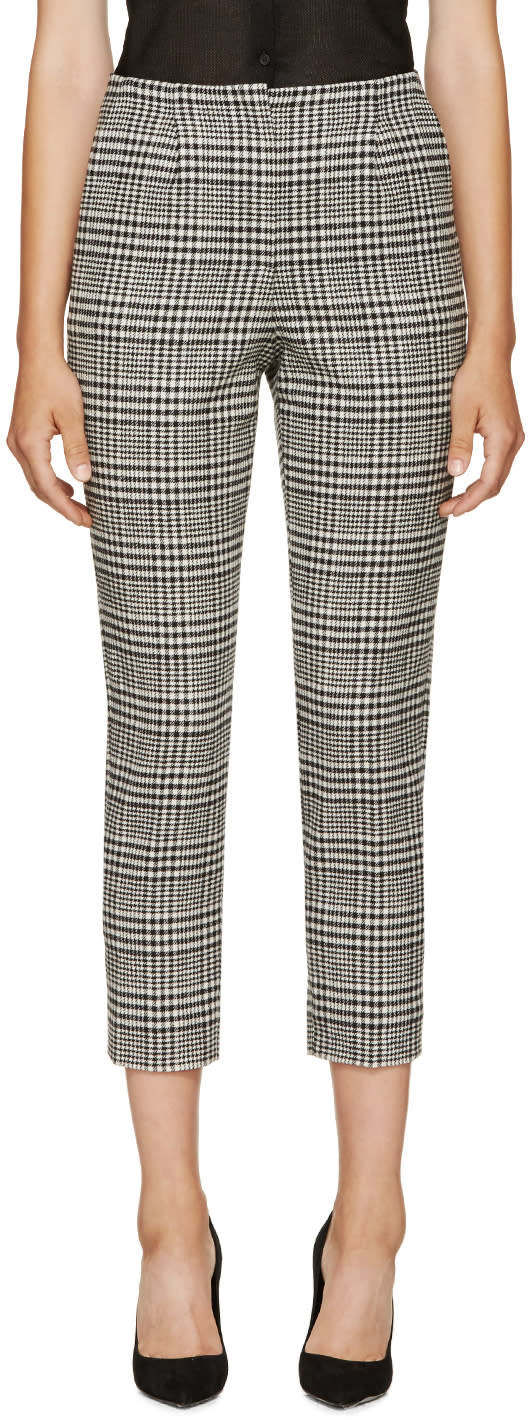 Lanvin Black and White Houndstooth Trousers at SSENSE