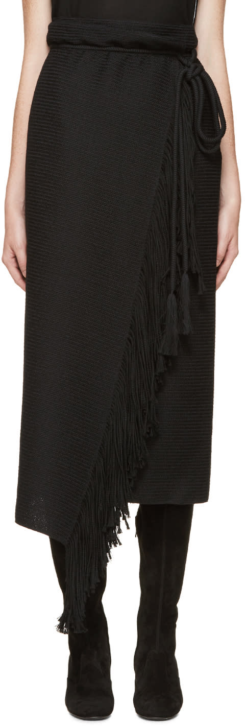 Lanvin Black Fringed Wrap Skirt