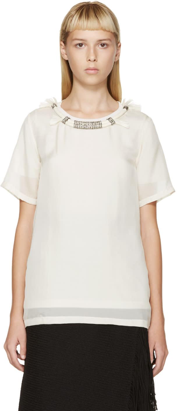 Lanvin Cream Rope Collar Silk T-shirt at SSENSE