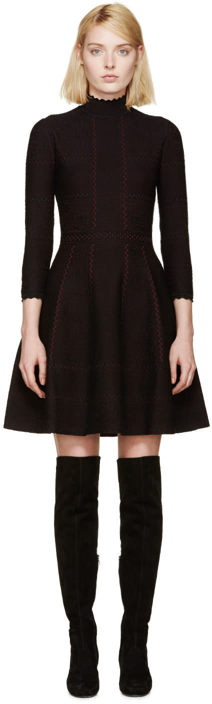 Alexander Mcqueen Black and Red Lace Flare Dress