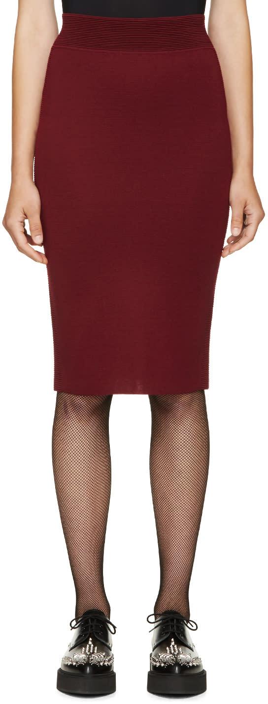 Alexander Mcqueen Burgundy Fitted Knit Skirt