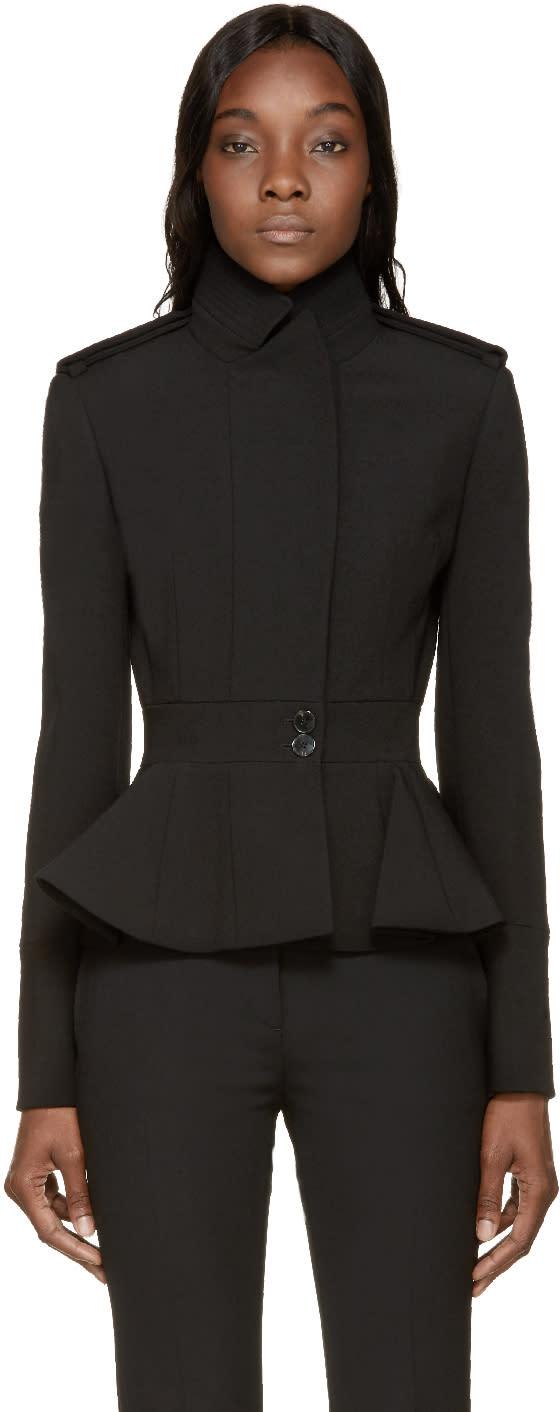 Alexander Mcqueen Black Wool Peplum Jacket