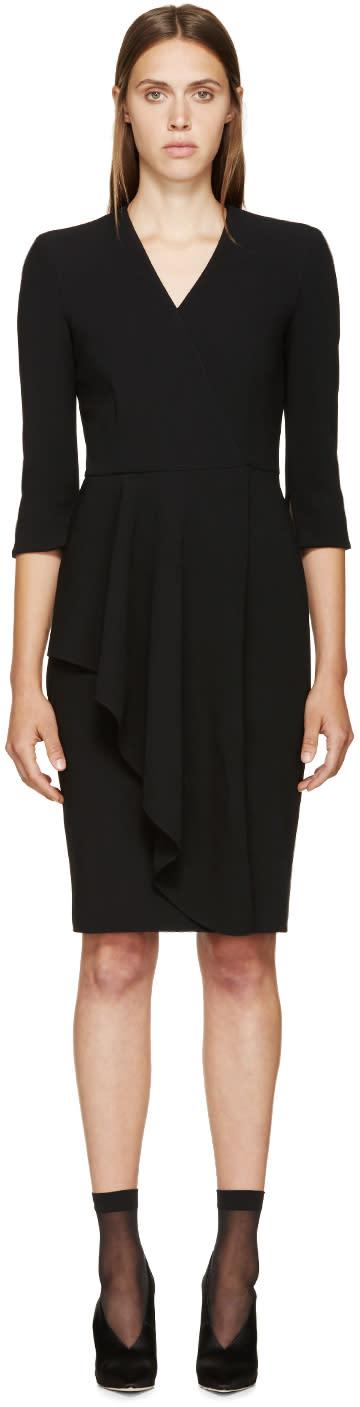 Alexander Mcqueen Black Wool Asymmetric Skirt Dress