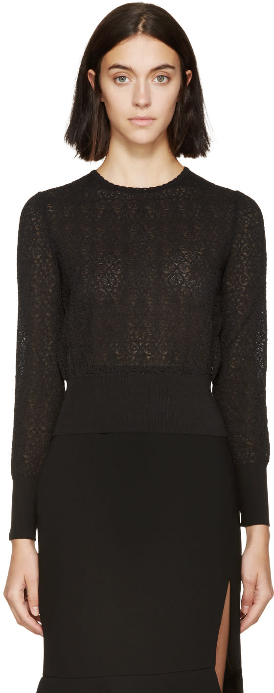 Alexander Mcqueen Black Circle Lace Sweater