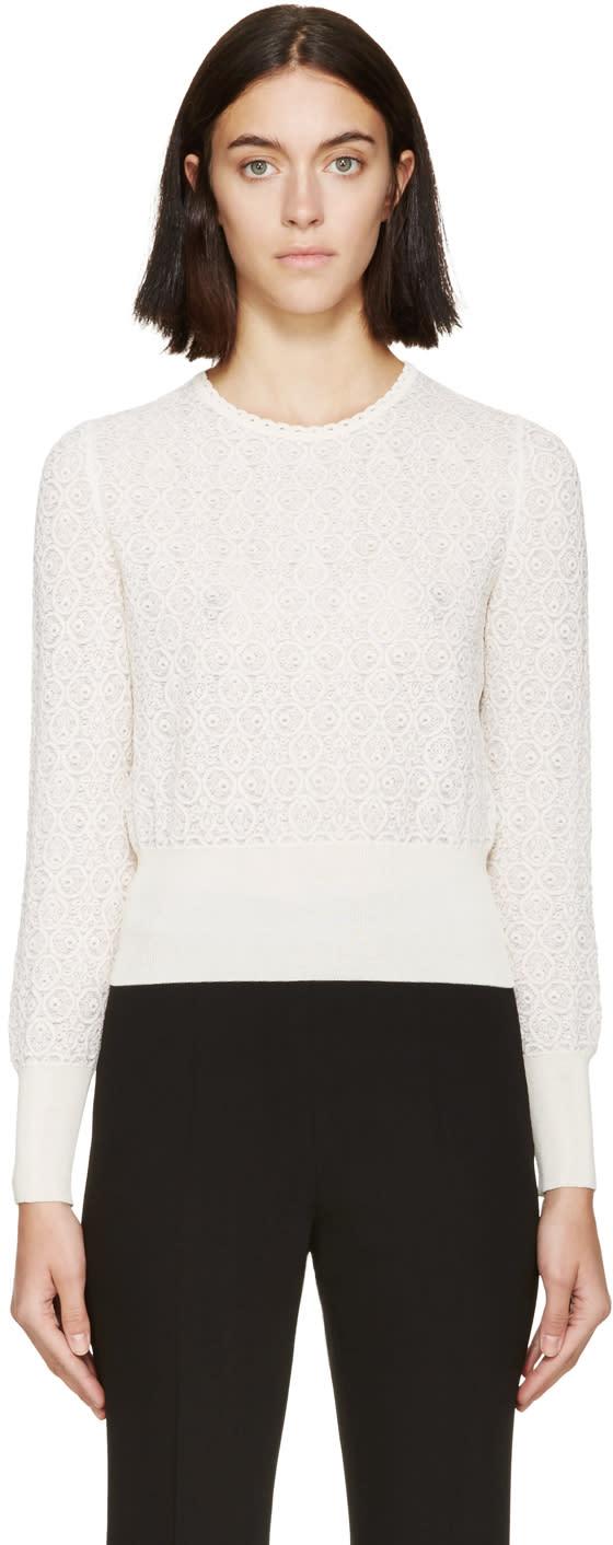Alexander Mcqueen Cream Circle Lace Sweater