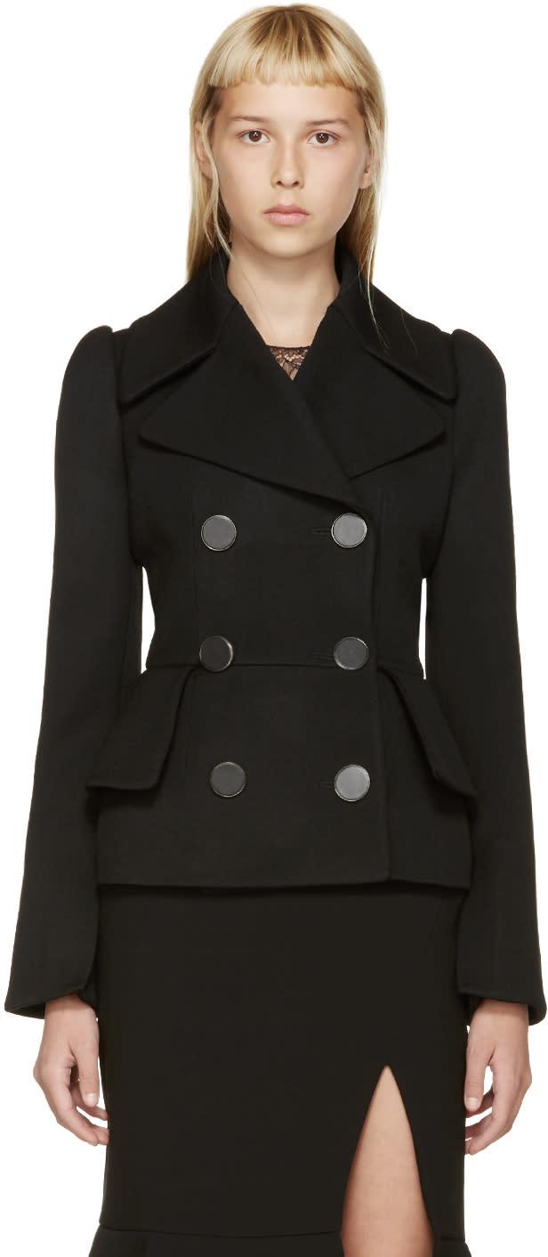 Alexander Mcqueen Black Wool Double-breasted Jacket