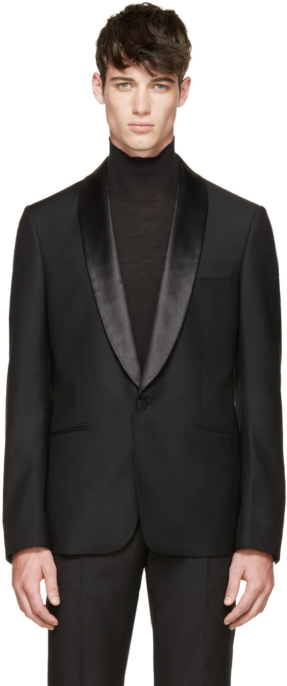 Alexander Mcqueen Black Satin Collar Tuxedo Jacket