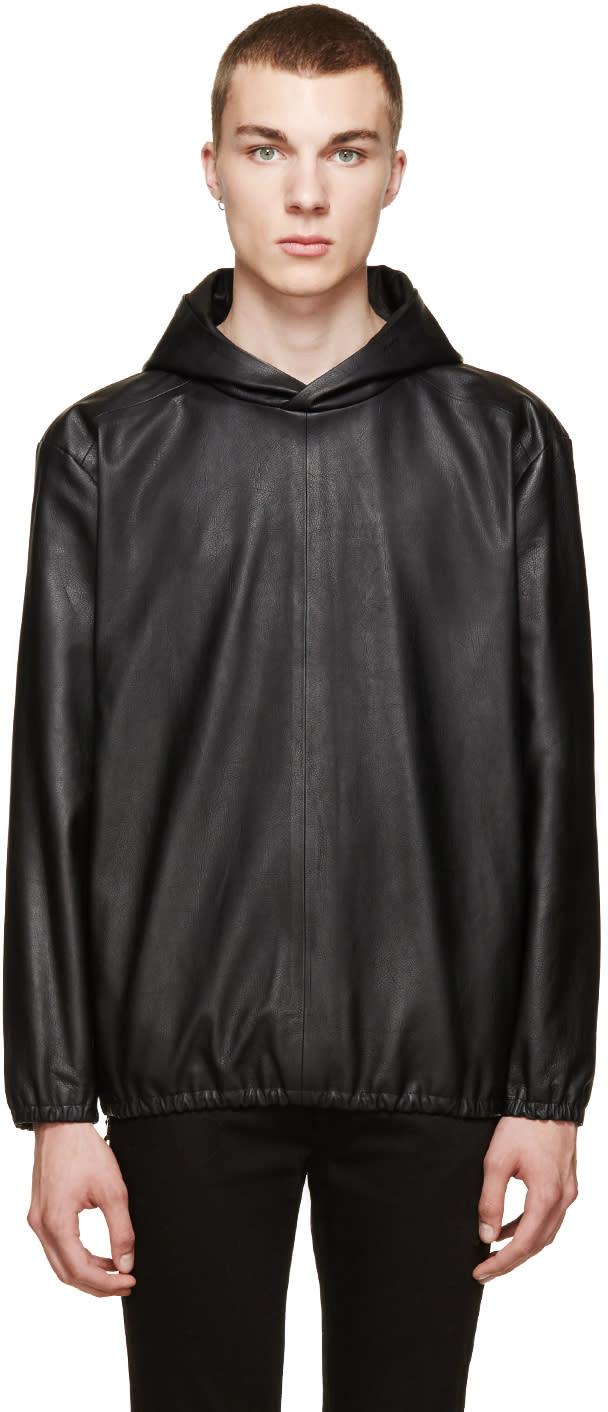 Paul Smith Black Leather Side-zip Hoodie