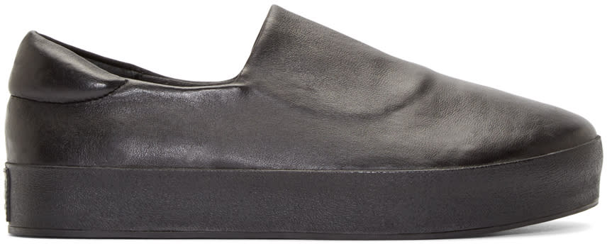 Opening Ceremony Black Leather Slip-on Sneakers
