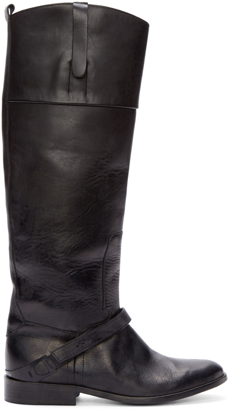 Golden Goose Black Leather Distressed Boots