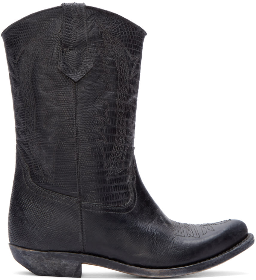 Image of Golden Goose Black Leather Victoria Cowboy Boots