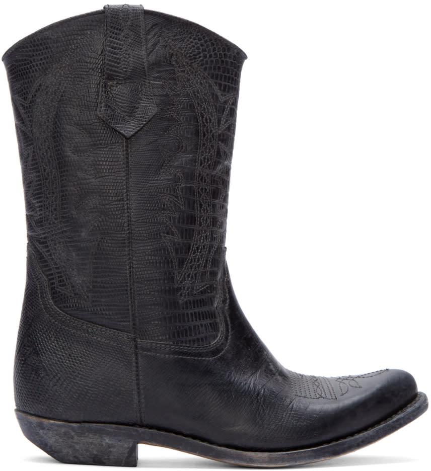 Golden Goose Black Leather Victoria Cowboy Boots