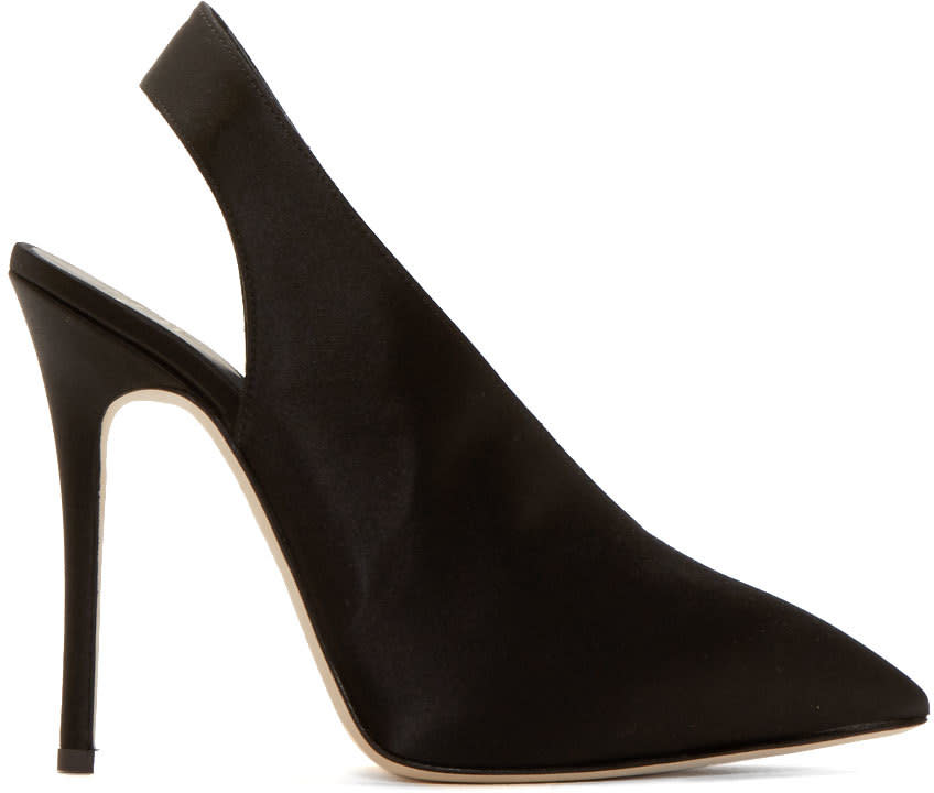 Giuseppe Zanotti Black Satin Slingback Stiletto Heels
