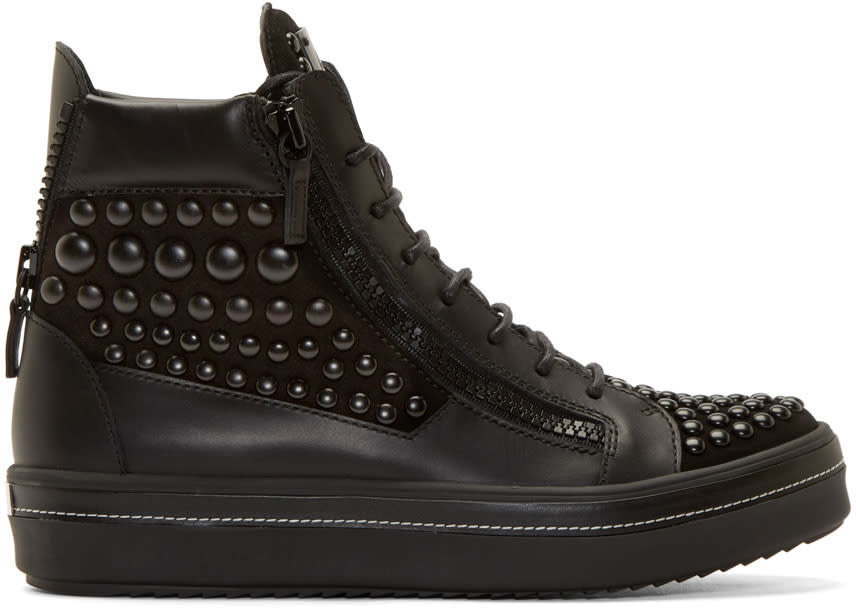 Giuseppe Zanotti Black Studded Ace High-top Sneakers