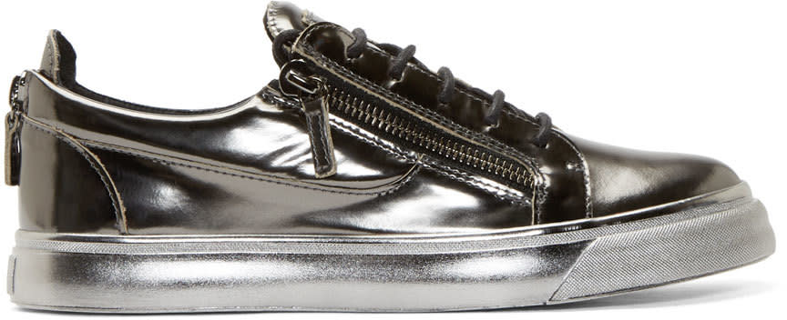 Giuseppe Zanotti Grey Metallic Leather Sneakers
