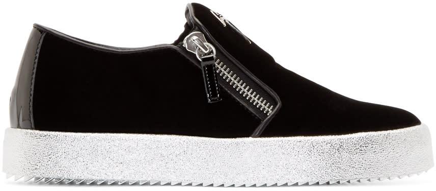 Giuseppe Zanotti Black Velvet Metallic Veronica Sneakers