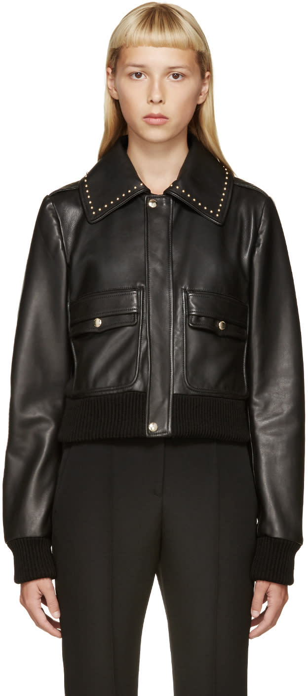 Givenchy Black Studded Leather Jacket