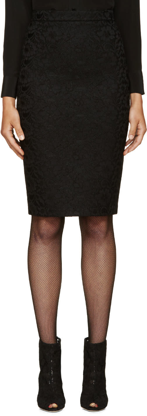 Givenchy Black Net and Lace Pencil Skirt