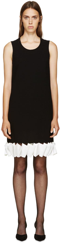 Givenchy Black and White Ruffle Crepe Dress