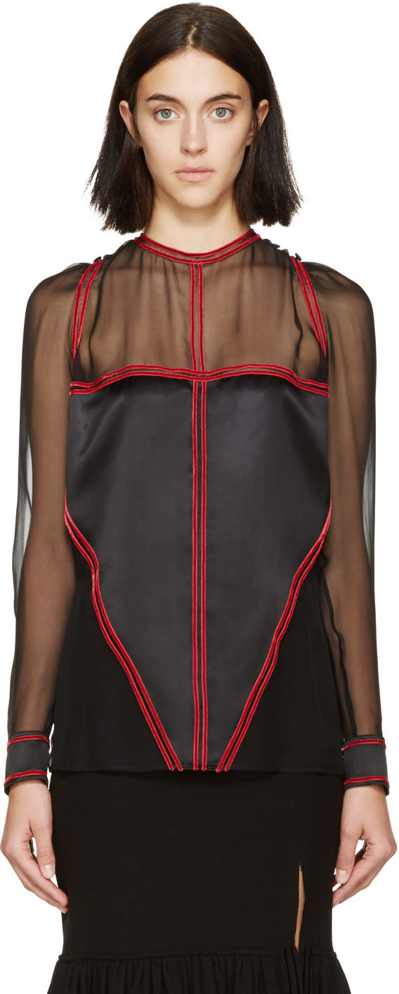 Givenchy Black and Red Chiffon Blouse