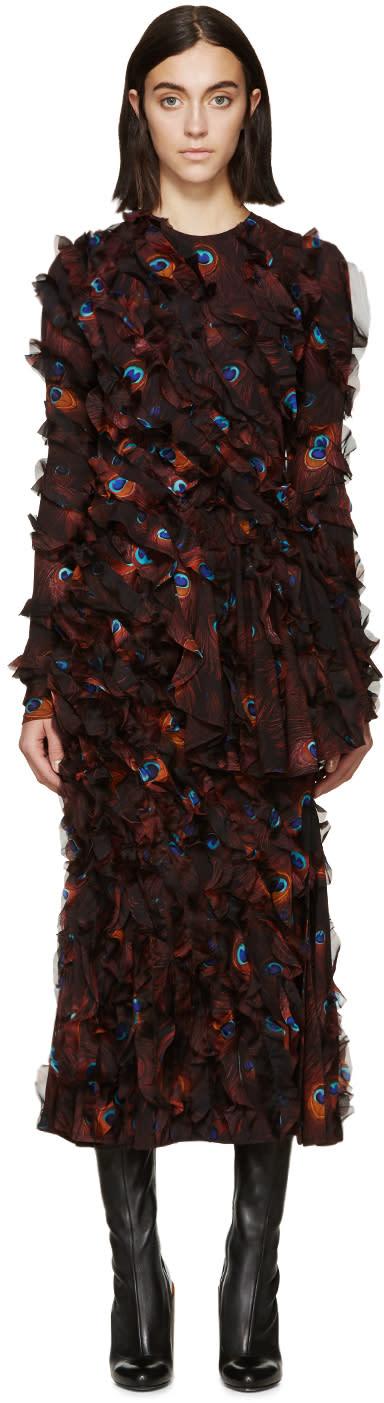 Givenchy Multicolor Chiffon Printed Peacock Dress